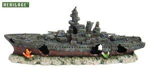 HERITAGE-WS008BM-AQUARIUM-FISH-TANK-LARGE-WARSHIP-BOAT-SHIP-WRECK-ORNAMENT-50CM