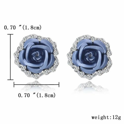 Women Crystal Pearl Rose Flower Ear Stud Earrings Spring Wedding Charms Jewlery