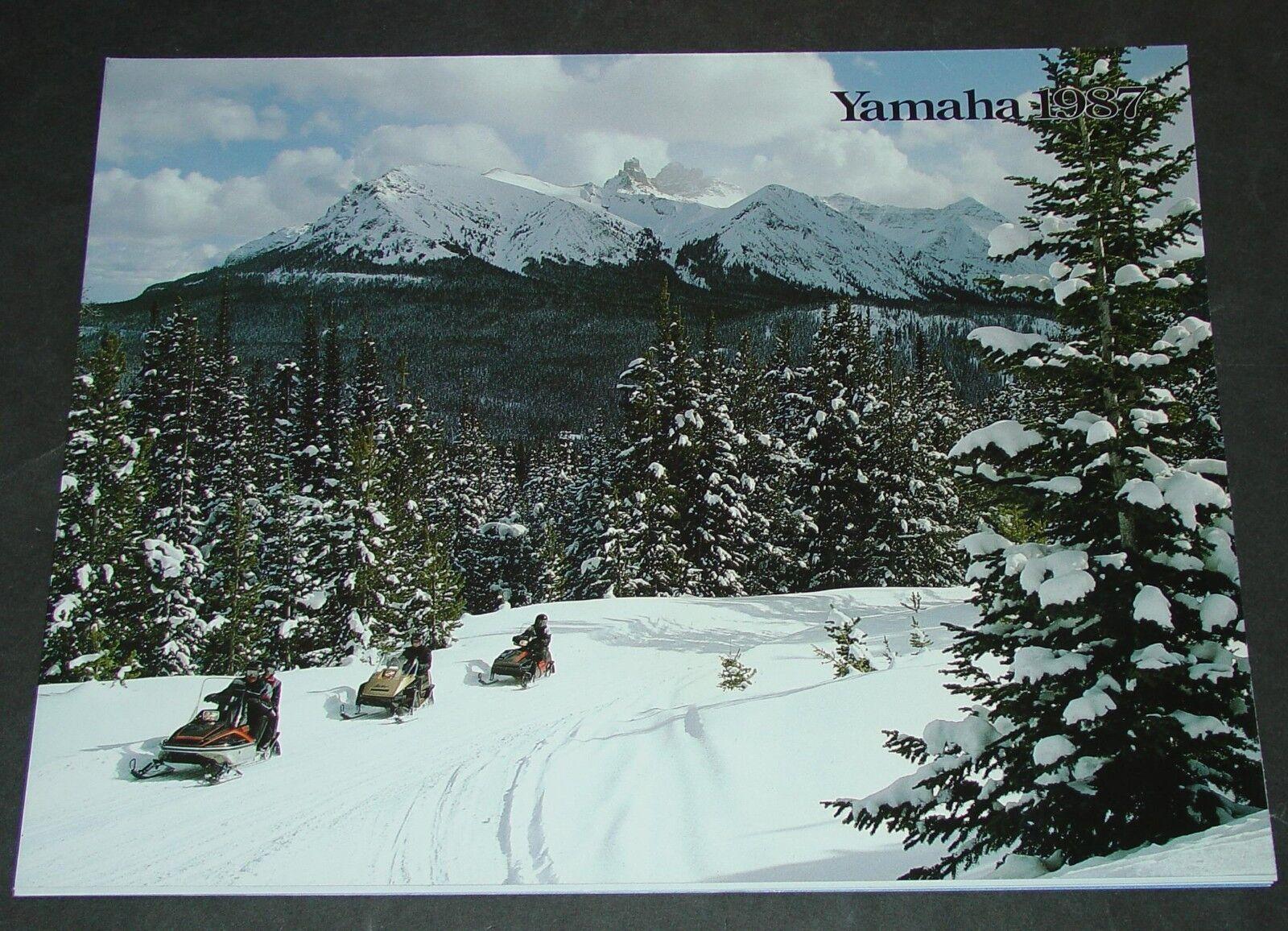 VINTAGE 1987 YAMAHA SNOWMOBILE SALES BROCHURE POSTER SIZE 17  X 44    (462)