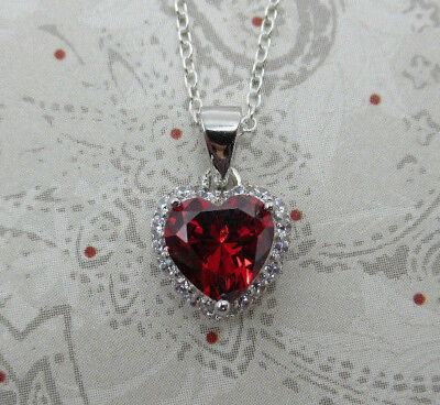 925 Sterling Silver Red Cubic Zirconia Heart Shaped Pendant