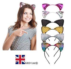 Girls-Metal-SEQUIN-CAT-EARS-HEADBAND-Hair-Band-Fancy-Costume-Party-Cosplay-UK