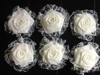 Six Lace Flower Ivory Burlap Shabby Chic Cottage Wedding Outdoor Table Wreath