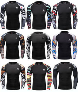 Mens-Gym-Athletic-Compression-T-shirts-Workout-Long-Sleeve-Dri-fit-Spandex-Tops
