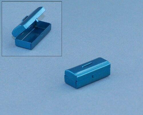 Dollhouse Miniature Little Blue Metal Tool Box that Opens /& Closes #MWJM19