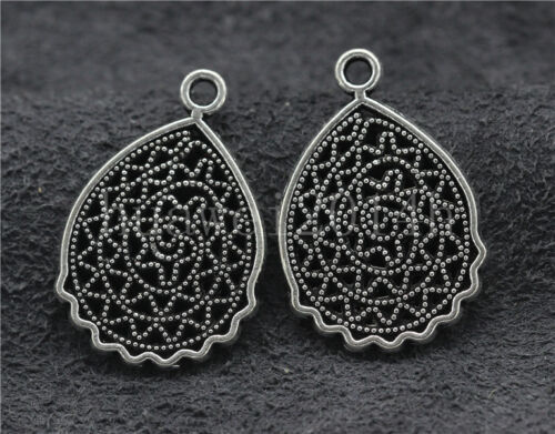 10//40//200pcs Tibetan Silver Hollow Flower Jewelry Finding Charms Pendant 25x17mm
