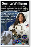 Astronaut Sunita Williams - Most Spacewalks By A Woman - Nasa Poster