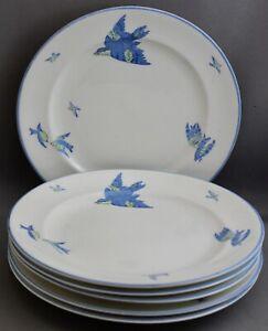 6-HEATHCOTE-WILLIAMSONS-CHINA-PLATES-BLUE-BIRD