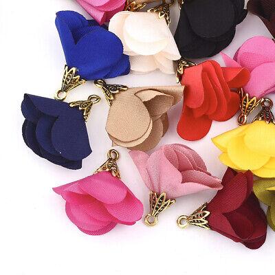20x Alloy Cloth Flower Pendants Mini Dangle Charms DIY Crafting Keychain 25~28mm