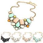 Vintage Womens Resin Bubble Pendant Collar Chain Statement Multicolor Necklace