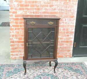 English-Antique-Mahogany-Wood-Display-Cabinet