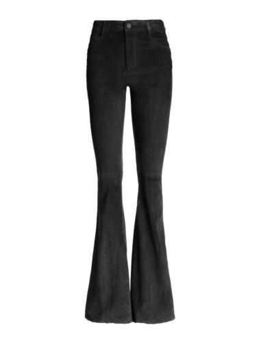 Alice And Olivia Suede Bell Pant Black Lamb Leathe