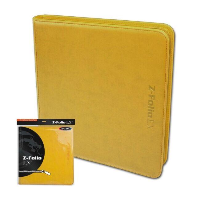 BCW Yellow Z-folio LX Leatherette 12-pocket ZIPPER Binder