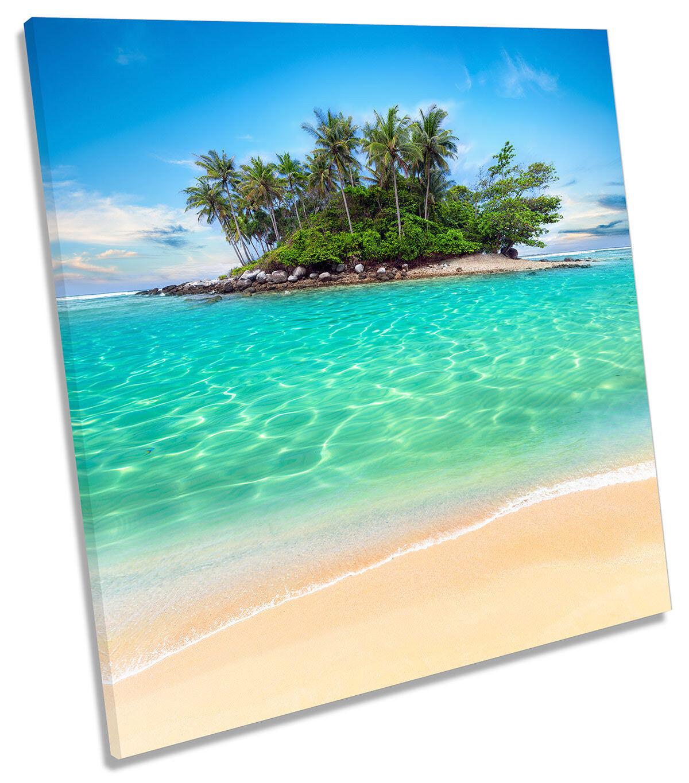 Desert Island Seascape Beach Picture CANVAS WALL ART Square Print