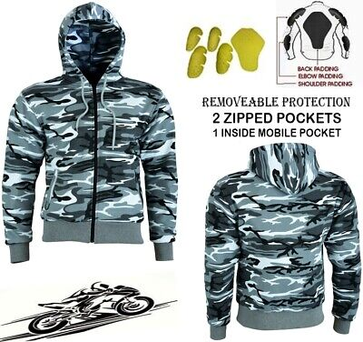 5XL Motorcycle Motorbike Protective Casual Summer Camouflage CE Approved Removable Bikers Zip Up Fleece Hoodie Hood Jacket S