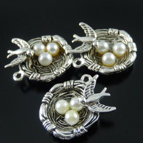 37288 Argent Antique Alliage Nid Oeufs et Oiseau Charms Pendants Crafts 10pcs