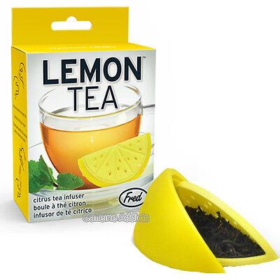 LEMON TEA INFUSER CUTE YELLOW WEDGE SHAPED LOOSE LEAF SILICONE MUG CUP STRAINER