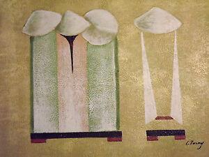 Peinture-Art-Abstraite-Huile-Sur-Toile-Large-Figure-Oriental-Chinoise-Original