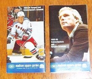 premium selection 024af cee8f Details about new york rangers & Knicks pocket schedule 1985-1986 NHL # 2