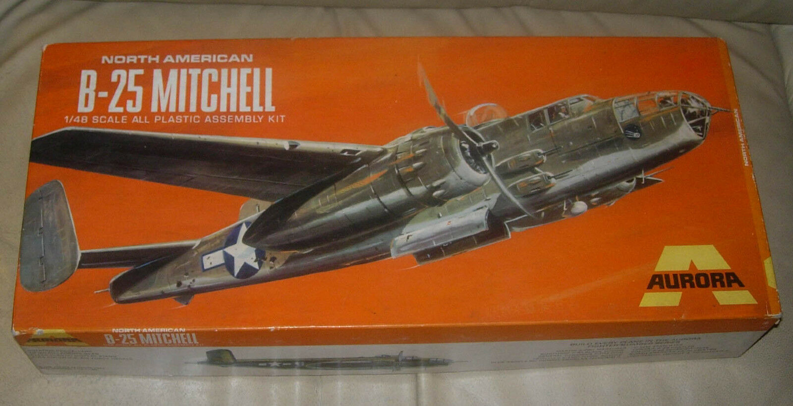 AURORA  B-25  MITCHELL BOMBER  1 48  1969  BOX AND INSTRUCTIONS ONLY