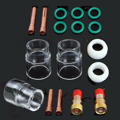 31pcs//set TIG Torch Welding Consumable Stubby Gas Lens #12 Glass For WP-17//18//26