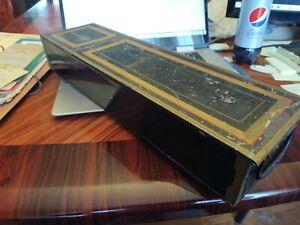 Vintage-Tollware-Black-Metal-Rectangular-Long-Gold-Trim-Safety-Deposit-Box-NICE