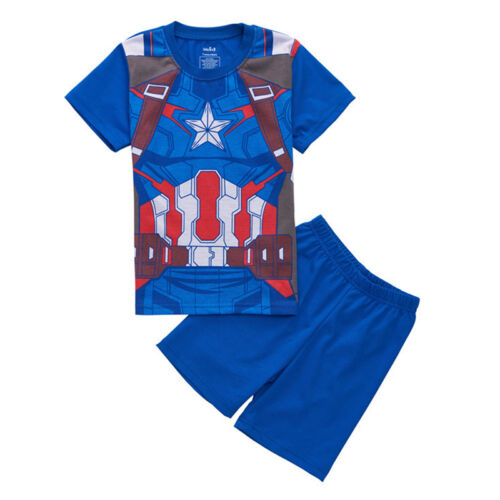 Kids Girls Boys Cartoon Shorts Pyjamas T-Shirt Short Sleeve Nightwear 2Pcs Set