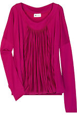 VANESSA BRUNO Athé fuchsia-red  jersey pleat-front top - blouse - size 2