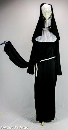 Nun Costume Deluxe 6 Pc Black & White Gown Tabard