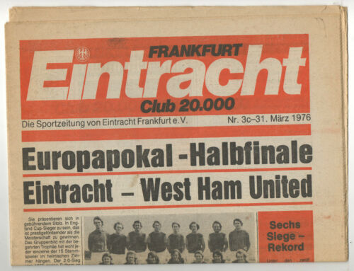 Orig.PRG Winners Cup 7576 EINTRACHT FRANKFURT WEST HAM UNITED 12 FINAL!