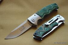 ELK RIDGE GREEN WOOD HANDLE SPRING ASSISTED KNIFE W/ CLIP **RAZOR SHARP** BLADE