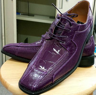 New Men's Oxfords Faux Leather Dress Shoes Purple Cream Size 8.5~13 Style #5732