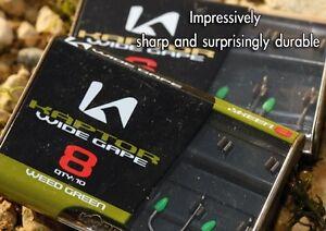 10 x KORDA KAPTOR WIDE GAPE GRAVEL BARBLESS SIZE 8 HOOKS FOR CARP FISHING