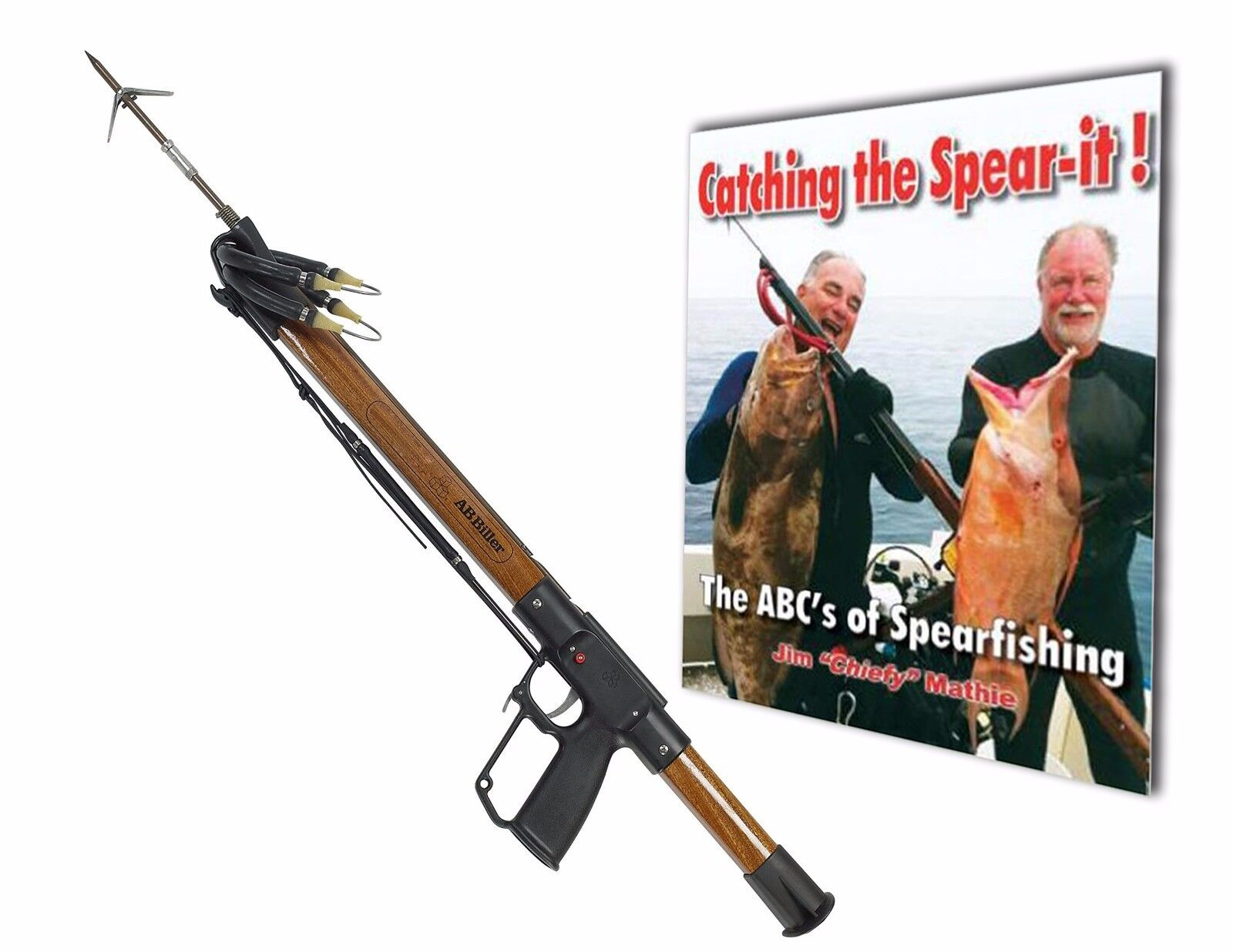 A.B. Biller Mahogany 48 Special Speargun with The ABC's of Spearfishing BOOK.