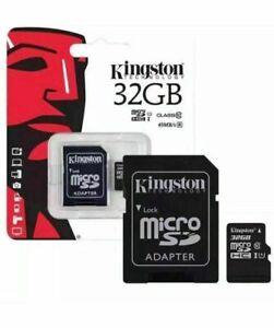 32 Go Kingston Micro SD SDHC Carte Mémoire Classe 10 avec SD Adaptateur Carte