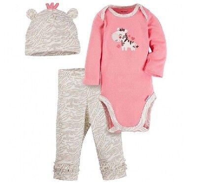 Gerber Baby Girl 3-Piece Salmon Zebra Onesies,Hat /& Pants Set; Baby Clothes Gift