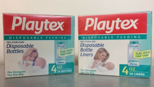 2 50pk Playtex Vintage Baby Bottle DropIns FLAT Disposable Liners 4oz