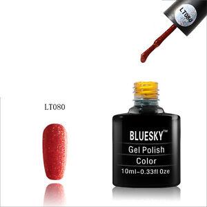 LT080-Bluesky-Salon-Nail-Polish-UV-GEL-Glaze-Rusty-Red-Gold-Bling