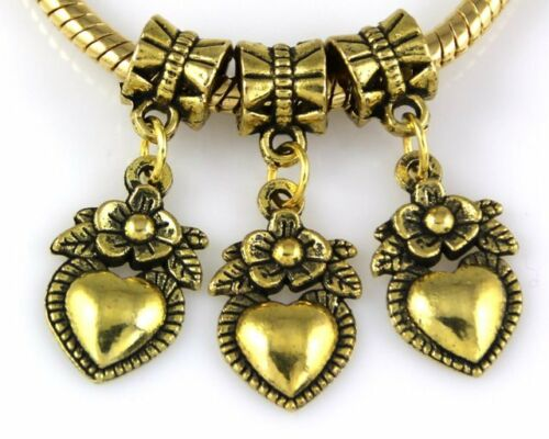 30pcs Antique Plaqué Or Coeur Fleur Dangle Charms Fit European Bracelet J107