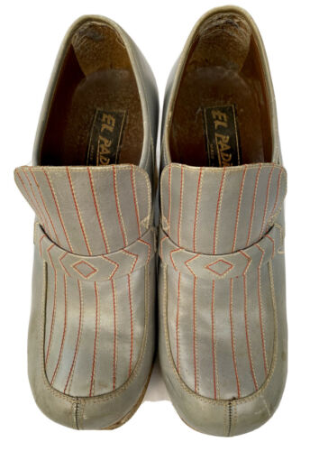 Vintage 70's Men's Blue-Gray Leather Platform Shoe