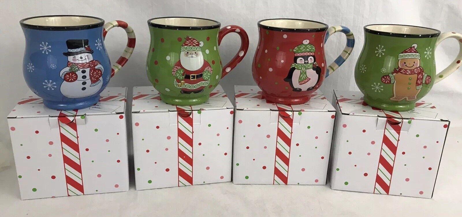 Temp Tations Winter Whimsy Mug Set Santa Snowman Penguin Gingerbread New W Boxes