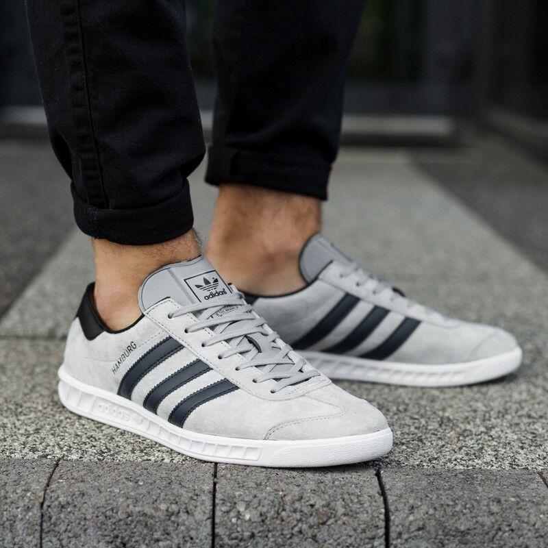 NEW Adidas Hamburg Gray Suede / Blue Stripe  Men's 8.5 spezial samba