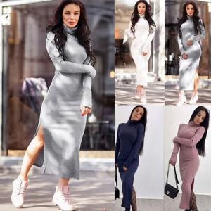 Women-Autumn-Winter-Long-Sleeve-Knit-Bodycon-Sweater-Jumper-Split-Midi-Dresses