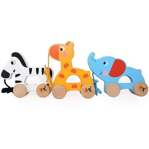 Indoor Outdoor Wooden Pull Along Toys Set Of 3 Giraffe Elephant /& Zebra Ages 1