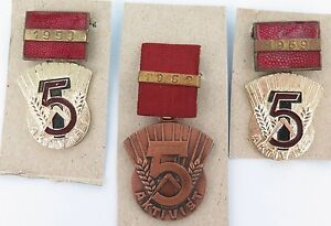 3-X-EAST-GERMAN-COLD-WAR-AKTIVIST-BADGES-1952-1953-1959-DDR-NVD-STASI-SOVIET