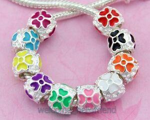 Four-Leaf-Clover-Silver-Tone-Enamel-Beads-For-Charm-Bracelet-Pick-Qty-E30