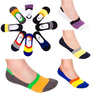 Women-Anti-Slip-Colorful-Striped-Low-Cut-Footsies-Trainer-Shoe-Liner-Socks-CW22