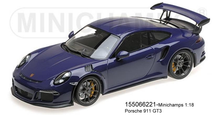 MINICHAMPS 155066221-Porsche 911 gt3 rs (991) – 2015 – Ultraviolet l.E. 1002