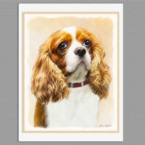 6 Cavalier King Charles Spaniel Dog Art Note Greeting Cards