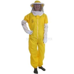 Basic-yellow-dress-Beekeeping-with-round-veil-and-Gloves-Choose-your-size