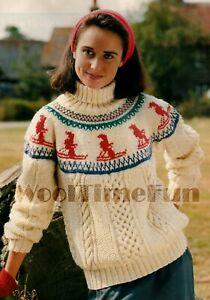 Vintage Knitting Pattern Classic Lady/'s 1950s Fair Isle//Skiing//Xmas Jumper.